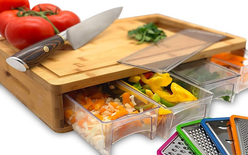 bamboo cutting board with containers