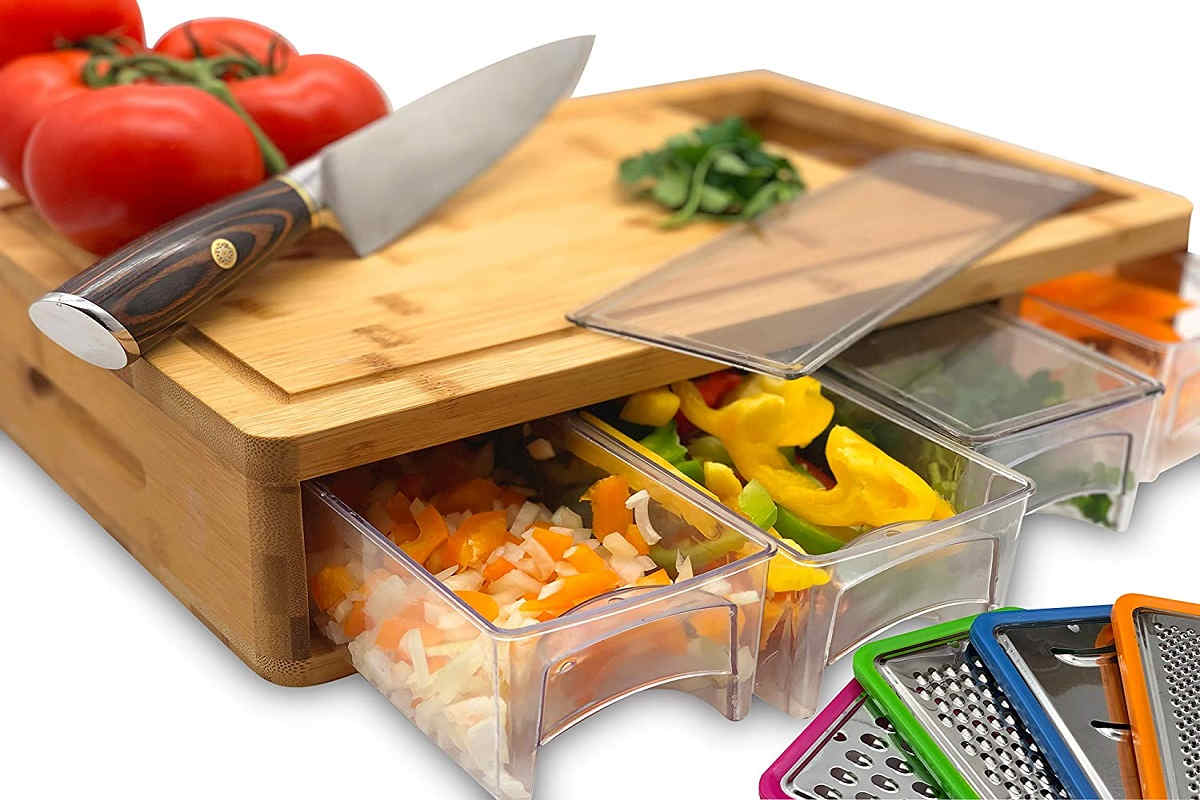 best wooden cutting board with containers