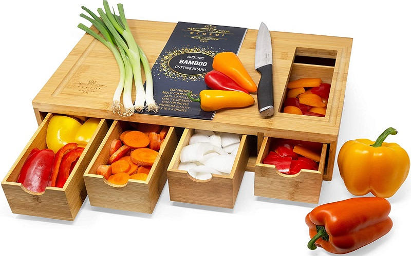 EXTRA LARGE Bamboo Cutting Board with containers